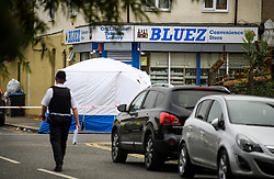 © Licensed to London News Pictures. 28/06/2018. London, UK. Police stand next to a tent where the body was discovered near the scene where a 20 year old man was stabbed to death yesterday evening in Edmonton, North London. Police were called to reports of a row between men armed with baseball bats on Wednesday evening. Photo credit: Ben Cawthra/LNP