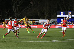 20 February 2017 - The FA Cup - (5th Round) - Sutton United v Arsenal - Roarie Deacon of Sutton United hits the crossbar - Photo: Marc Atkins / Offside.
