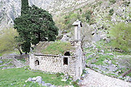 The small church of Sv Djordje, high on the slopes above the UNESCO-listed old town of Kotor, below the fortress of Sv Ivan. Boka Kotorska (Bay of Kotor), Montenegro