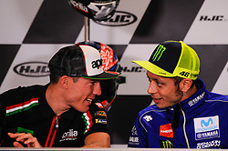May 17, 2018 - Le Mans, France, France - Pol Espargarò and Valentino Rossi attends a press conference of France MotoGP at Circuit Bugatti Le Mans. (Credit Image: © Gaetano Piazzolla/Pacific Press via ZUMA Wire)