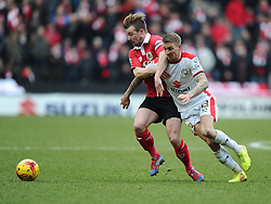 Bristol City's Wade Elliott battles for the ball with Milton Keynes Dons' Carl Baker  - Photo mandatory by-line: Joe Meredith/JMP - Mobile: 07966 386802 - 07/02/2015 - SPORT - Football - Milton Keynes - Stadium MK - MK Dons v Bristol City - Sky Bet League One