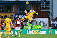 Christian Benteke of Crystal Palace and Ben Mee of Burnley challenge for the ball. Premier League match, Burnley v Crystal Palace at Turf Moor in Burnley , Lancs on Saturday 5th November 2016.<br /> pic by Chris Stading, Andrew Orchard sports photography.