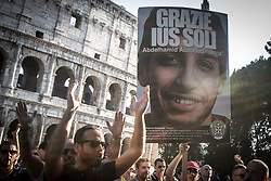 June 24, 2017 - Rome, Italy - Thousands of members of Italian far-right movement CasaPound from all over Italy march with flags and shout slogans during a demonstration to protest against the ''Ius Soli'' in Rome. The ''Ius Soli'' is the right of anyone born in the  territory of a state to nationality or  citizenship. (Credit Image: © Andrea Ronchini/Pacific Press via ZUMA Wire)