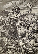 SAMSON SLAYS A THOUSAND MEN. Judges xy. 16. And Samson said, With the jawbone of an ass, heaps upon heaps, with the jaw of an ass have I slain a thousand men. From the book ' The Old Testament : three hundred and ninety-six compositions illustrating the Old Testament ' Part II by J. James Tissot Published by M. de Brunoff in Paris, London and New York in 1904