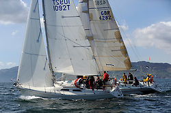 The Clyde Cruising Club's Scottish Series held on Loch Fyne by Tarbert. Day 2 racing in a perfect southerly..GBR4282, Savage, Micheal Hawkins , CCC / RGYC , Hustler SJ36 and GBR1092, Pandanova, Stevie Andrews,  Strangford LoughYC, Albin Nova