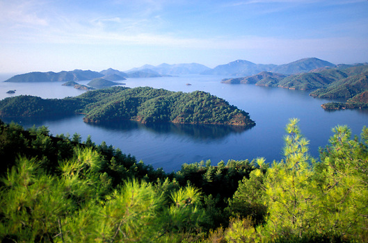 View of islands off the Turquoise Coast at Gocek Bay in Southwestern Turkey