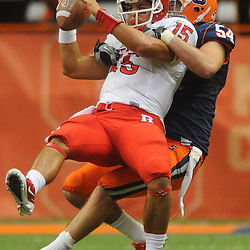 Rutgers defeats Syracuse in Big East NCAA college football 19-16 in double overtime at the Carrier Dome in Syracuse, NY on Oct. 1, 2011.