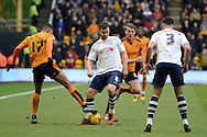 Preston North End defender Bailey Wright battle for the ball during the Sky Bet Championship match between Wolverhampton Wanderers and Preston North End at Molineux, Wolverhampton, England on 13 February 2016. Photo by Alan Franklin.