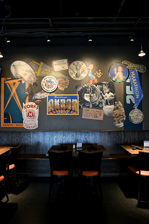 Wall signs hanging at The Game Grill+Bar at Canal Park.