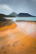 View of Tavurvur Volcano over Rababa Hot Springs, Rabaul, East New Britain, Papua New Guinea