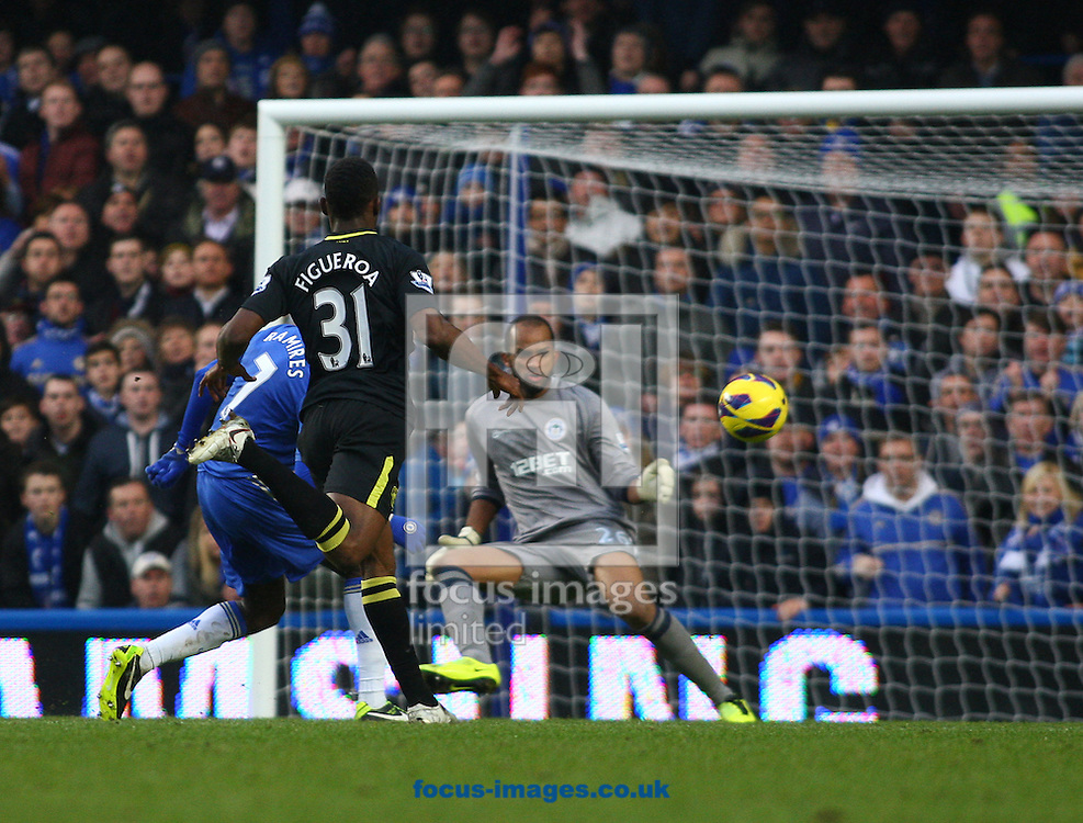 Picture by Rob Fisher/Focus Images Ltd +44 7545 398891.09/02/2013.Ramires of Chelsea scores their first goal during the Barclays Premier League match at Stamford Bridge, London.