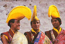Asia, Nepal, Solu Khumbu region, Tengboche Monastery, Buddhist Yellow-Hat Lamas (monks) at annual Mani Rimdu festival