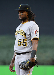 April 18, 2018 - Miami, FL, U.S. - MIAMI, FL - APRIL 13: Pittsburgh Pirates first baseman Josh Bell (55)  during the first inning of the Major League Baseball game between the Miami Marlins and the Pittsburgh Pirates on April 13, 2018  at Marlins Park in Miami, FL  (Photo by Juan Salas/Icon Sportswire) (Credit Image: © Juan Salas/Icon SMI via ZUMA Press)