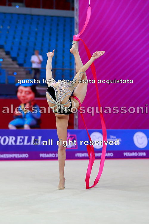 Lozic Suncica during the qualification of the ribbon at the Pesaro World Cup 2018.<br /> She is a gymnast from Croatia born in Split in 2002.