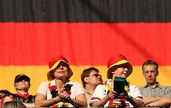 09.07.2011, Arena im Allerpark Wolfsburg , Wolfsburg ,  GER, FIFA Women Worldcup 2011, Viertelfinale ,   Germany (GER) vs Japan (JPN)  im Bild   .deutsche Fans -  vor der Deutschen Fahne.//  during the FIFA Women Worldcup 2011, Quarterfinal, Germany vs Japan  on 2011/07/09, Arena im Allerpark , Wolfsburg, Germany.  .EXPA Pictures © 2011, PhotoCredit: EXPA/ nph/  Hessland       ****** out of GER / CRO  / BEL ******