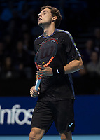 Tennis - 2017 Nitto ATP Finals at The O2 - Day Six<br /> <br /> Group Pete Sampras Singles: Pablo Carreno Busta (Spain) Vs Grigor Dimitrov (Bulgaria)<br /> <br /> Pablo Carreno Busta (Spain) can not believe his defeat as he closes his eyes and raises his head at the O2 Arena <br /> <br /> COLORSPORT/DANIEL BEARHAM