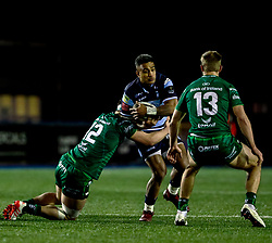 Rey Lee-Lo of Cardiff Blues is tackled by Tom Daly of Connacht<br /> <br /> Photographer Simon King/Replay Images<br /> <br /> Guinness PRO14 Round 14 - Cardiff Blues v Connacht - Saturday 26th January 2019 - Cardiff Arms Park - Cardiff<br /> <br /> World Copyright © Replay Images . All rights reserved. info@replayimages.co.uk - http://replayimages.co.uk