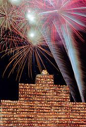 Fireworks celebrate 2000 World Record for Jack o Lanterns, Railroad Square Tower, Keene Pumpkin Festival