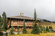 Sunrise Visitor Center building (part of the Yakima Stockade Group) at the Sunrise area in Mount Rainier National Park, Washington State, USA