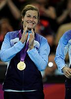 Håndball<br /> 11. August 2012<br /> Olympiske Leker , London<br /> Finale<br /> Norge - Montenegro<br /> Linn-Kristin Riegelhuth Koren , Norge feirer gull medaljen<br /> Foto : Astrid M. Nordhaug