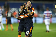 Jonjo Shelvey of Newcastle United applauds the Newcastle United fans after the final whistle. EFL Skybet football league championship match, Queens Park Rangers v Newcastle Utd at Loftus Road Stadium in London on Tuesday 13th September 2016.<br /> pic by John Patrick Fletcher, Andrew Orchard sports photography.