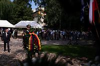 Bialystok, 16.08.2021 Uroczystosci z okazji 78. rocznicy powstania w bialostockim gettcie przy Pomniku Bohaterow Getta N/z przedstawiciel Ambasdy Niemiec radca-minister Robert von Rimscha zlozyl wieniec pod pomnikiem Bohaterow Getta fot Michal Kosc / AGENCJA WSCHOD