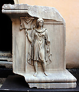 Sculptural relief detail from the entrance/courtyard to the Capitolini museums, in Rome, Italy. The museums themselves are contained within 3 palazzi as per designs by Michelangelo Buonarroti in 1536, they were then built over a 400 year period.