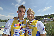 Banyoles, SPAIN,  GBR M2-,  [Peter REED and Andy TRIGGS HODGE,  Gold Medalist, Men's pair, at the FISA World Cup Rd 1. Lake Banyoles.  Sunday,  31/05/2009   [Mandatory Credit. Peter Spurrier/Intersport Images]