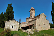 Pictures & images of the Church of the Transfiguration of Ikalto monastery was founded by Saint Zenon, one of the 13 Syrian Fathers, in the late 6th century. Near Telavi, Kakheti, Eastern Georgia (Country).<br /> <br /> The Ikalto Monastery is famous for the Academy of Ikalto founded in the reign of King David the Builder by Arsen Ikaltoeli. The Academy of Ikalto trained its students in classical diciplins of rhetoric, astronomy, philosophy, geography, geometry as well as learning the skills of chantings, pottery and poetry. In the 12th century the Georgian poet Shota Rustaveli studied here. .<br /> <br /> Visit our MEDIEVAL PHOTO COLLECTIONS for more   photos  to download or buy as prints https://funkystock.photoshelter.com/gallery-collection/Medieval-Middle-Ages-Historic-Places-Arcaeological-Sites-Pictures-Images-of/C0000B5ZA54_WD0s<br /> <br /> Visit our REPUBLIC of GEORGIA HISTORIC PLACES PHOTO COLLECTIONS for more photos to browse, download or buy as wall art prints https://funkystock.photoshelter.com/gallery-collection/Pictures-Images-of-Georgia-Country-Historic-Landmark-Places-Museum-Antiquities/C0000c1oD9eVkh9c
