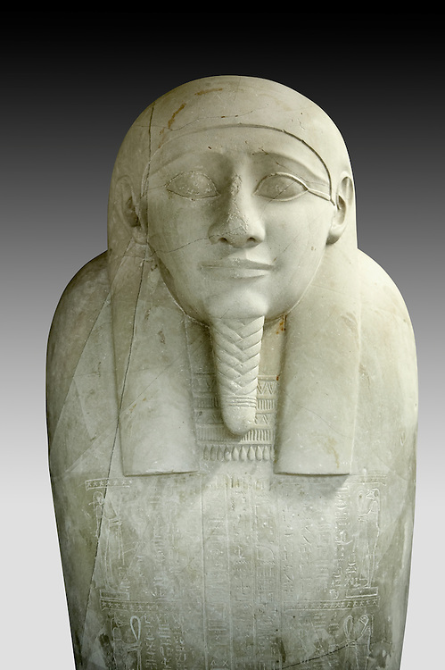 Ancient Egyptian Ptolemaic sacrophagus of the prophet Ahmose. 332-30 BC. Neues Museum Berlin AM 38. .<br /> <br /> If you prefer to buy from our ALAMY PHOTO LIBRARY  Collection visit : https://www.alamy.com/portfolio/paul-williams-funkystock/ancient-egyptian-art-artefacts.html  . Type -   Neues    - into the LOWER SEARCH WITHIN GALLERY box. Refine search by adding background colour, subject etc<br /> <br /> Visit our ANCIENT WORLD PHOTO COLLECTIONS for more photos to download or buy as wall art prints https://funkystock.photoshelter.com/gallery-collection/Ancient-World-Art-Antiquities-Historic-Sites-Pictures-Images-of/C00006u26yqSkDOM