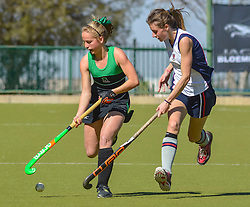 Tamlyn Gill of Pearson(green) and Kim Owen of St Stithians during day two of the FNB Private Wealth Super 12 Hockey Tournament held at Oranje Meisieskool in Bloemfontein, South Africa on the 7th August 2016, <br /> <br /> Photo by:   Frikkie Kapp / Real Time Images
