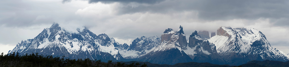 Overcast view of Torres del Paine National Park, Tyndall, Chile.