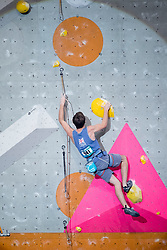 William Bossi of Great Britain  competes in Men's Lead semi-final at the International Federation of Sport Climbing (IFSC) World Cup 2017 at Edinburgh International Climbing Arena, Scotland, United Kingdom.