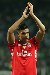 April 22, 2017 - Lisbon, Lisbon, Portugal - Benficas forward Raul Jimenez from Mexico thanking the supporters at the end of the match during Premier League 2016/17 match between Sporting CP and SL Benfica, at Alvalade Stadium in Lisbon on April 22, 2017. (Credit Image: © Dpi/NurPhoto via ZUMA Press)