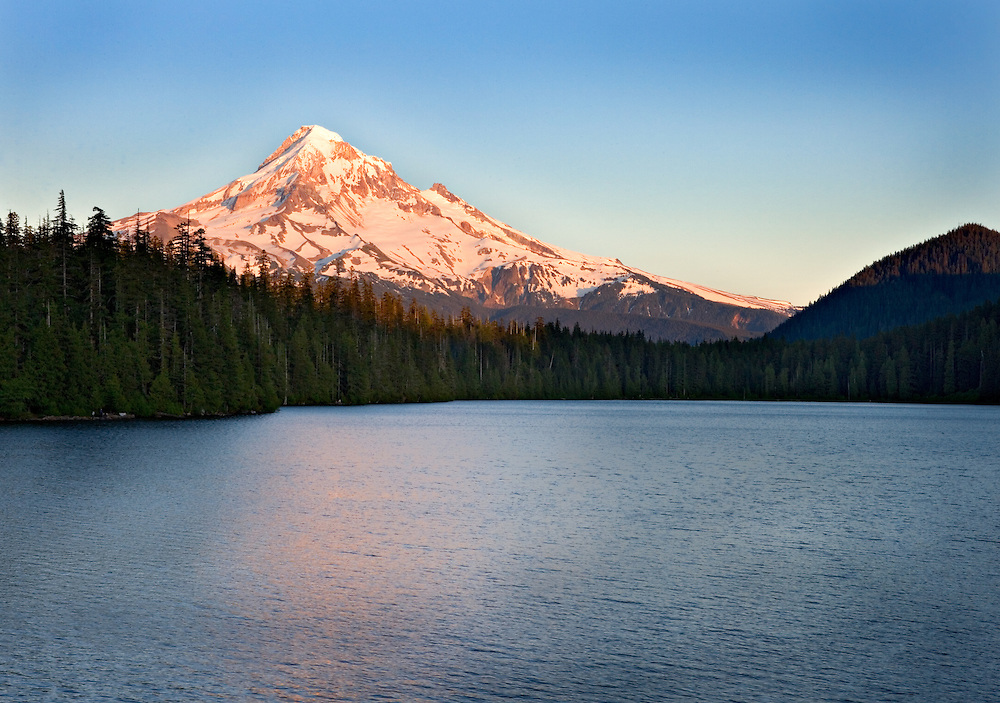 Mt Hood and sunset ligt reflecting in Lost Lake, Oregon