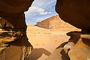View through the Um Frouth Arch, Wadi Rum, Jordan.