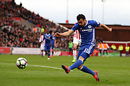Pedro of Chelsea has a shot at goal. Premier league match, Stoke City v Chelsea at the Bet365 Stadium in Stoke on Trent, Staffs on Saturday 18th March 2017.<br /> pic by Andrew Orchard, Andrew Orchard sports photography.