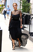 August 17, 2016 - New York, New York, United States - S<br /> <br /> inger Rita Ora wears a black lacy gown as she leaves her Soho apartment on August 17 2016 in New York City <br /> ©Exclusivepix Media