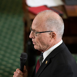 Texas Senate action on Tuesday, May 18, 2021 showing Sen. Bob Hall, R-Edgewood talking about trasngender bill.