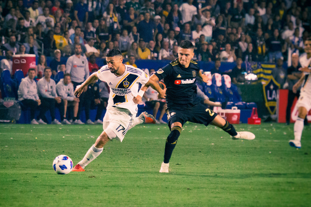 Sebastian Lletget. Photos taken in the summer of 2018 for the LA Galaxy home games against D.C. United, Minnesote United, Colorado Rapids and LAFC. Working with head photographer Rob Mora. Major League Soccer. ©justinalexanderbartels.com