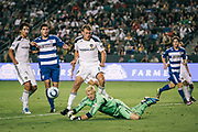 FC Dallas goalkeeper Kevin Hartman makes a save during the second half of an MLS soccer match against the Los Angeles Galaxy, Saturday, Aug. 6, 2011, in Carson, Calif. The Galaxy won 3-1. (AP Photo/Bret Hartman)