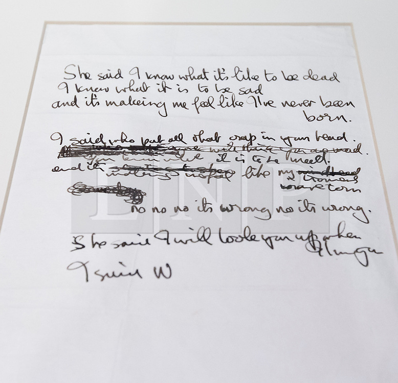 "© Licensed to London News Pictures. 22/05/2013. London, UK. The original lyrics to the Beatles song 'She Said She Said' are seen after being presented to the British Library by Beatles biographer Hunter Davies in London today (22/05/2013). The manuscript, along with others and correspondence between John Lennon and Mr Davies, have been donated to the library under the ""lifetime giving"" scheme. Photo credit: Matt Cetti-Roberts/LNPPhoto credit: Matt Cetti-Roberts/LNP"