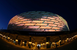 A general view of the outside of the Olympic Stadium ahead of the match during the UEFA Europa League final at The Olympic Stadium, Baku, Azerbaijan.