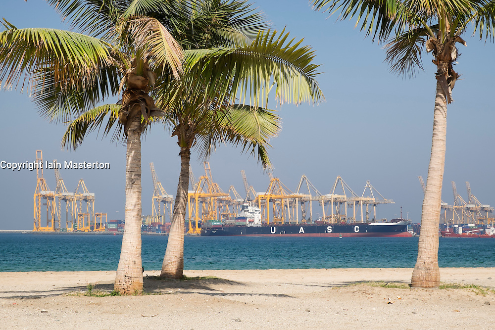 Natural deep water container terminal port at Khorfakkan in Sharjah Emirate in United Arab Emirates