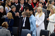 Melania Trump hugs her son Baron Trump as Tiffany Trump and Ivanka Trump look on during the President Inaugural Ceremony on Capitol Hill January 20, 2017 in Washington, DC. Donald Trump became the 45th President of the United States in the ceremony.