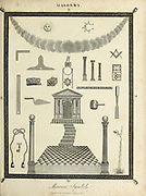19th century illustration of Masonic Symbols Copperplate engraving From the Encyclopaedia Londinensis or, Universal dictionary of arts, sciences, and literature; Volume XIV;  Edited by Wilkes, John. Published in London in 1816