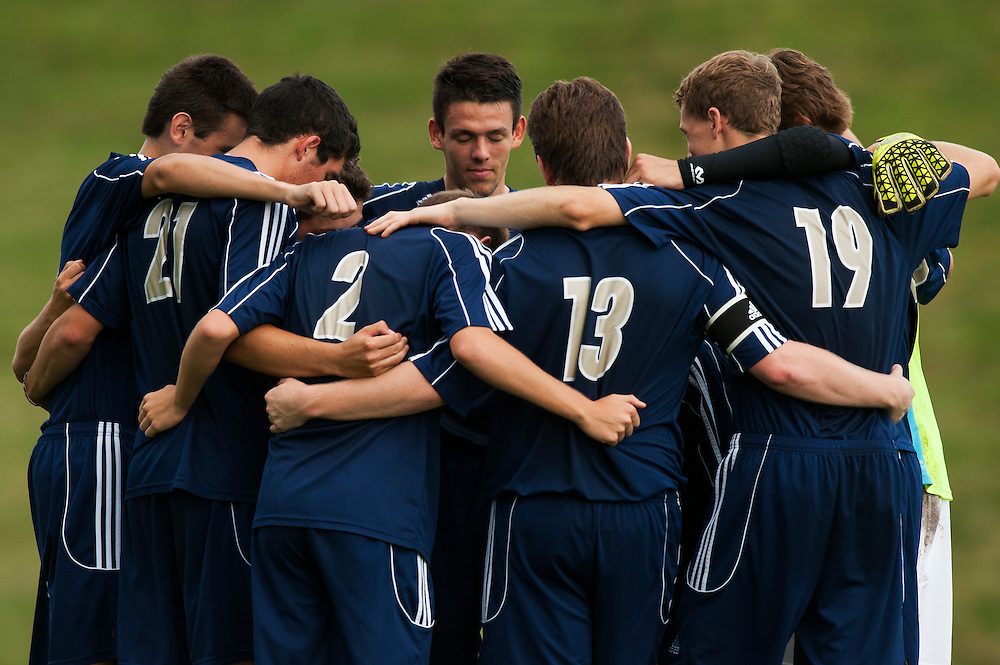 Essex huddles together before the start of the boys varsity soccer game between the Essex Hornets and the Champlain Valley Union Redhawks at CVU High School on Wednesday afternoon September 9, 2015 in Hinesburg. (BRIAN JENKINS/for the FREE PRESS)