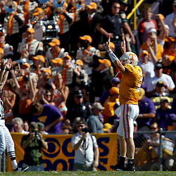 Oct 2, 2010; Baton Rouge, LA, USA; Tennessee Volunteers quarterback Matt Simms (2) celebrates following a touchdown against the LSU Tigers during the first half at Tiger Stadium.  Mandatory Credit: Derick E. Hingle