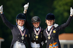Podium Individual Juniors <br /> 1. Johanne Pauline von Danwitz<br /> 2. Alexandra Gamlemshau Andresen<br /> 3. Jeanine Nekeman<br /> European Championship Dressage Young Riders<br /> Compiegne 2013<br /> © Dirk Caremans