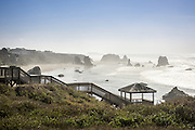 Coquille Point National Wildlife Refuge in Bandon, OR has a large stairway that gives access to the beaches below.